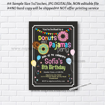 Donuts and Pajamas Party Invitation, Donut Birthday Invitations, Pajama Party, Sleepover Pancakes any age, 5th 6th 7th 8th - card 947