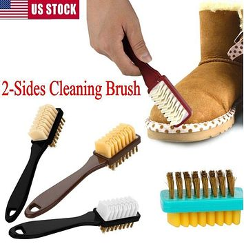 2-Sides Dry Cleaning Brush + Rubber Eraser For Suede Nubuck Shoes Boot Cleaner
