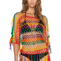 Anna Kosturova Mesh Top in Aztec Stripe