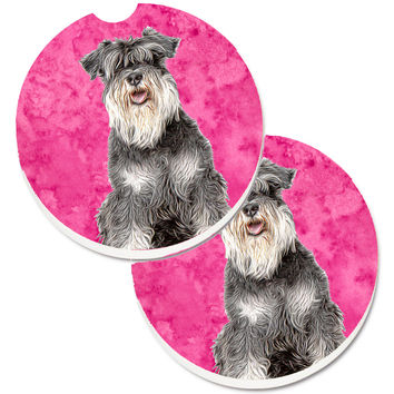 Pink Schnauzer Set of 2 Cup Holder Car Coasters KJ1228PKCARC