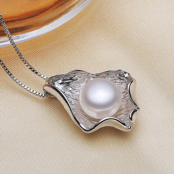 Elegant 925 Silver Freshwater Pearl Pendant Jewelry Necklaces