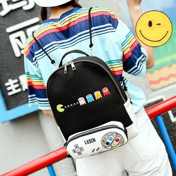 Classical Game Pacman Pakkuman Embroidery Kawaii Canvas School Bags Lovers Travel Bag Mochila Feminina Rucksacks for Girls