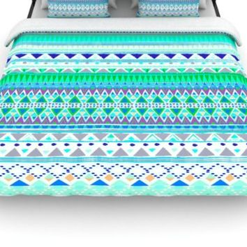 "Kess InHouse Nika Martinez ""Emerald Chenoa"" 88 by 88-Inch Woven Duvet Cover, Queen"