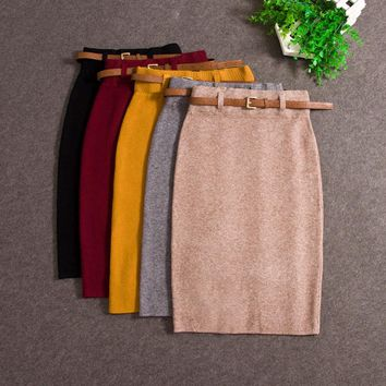 Fashion Skirts Autumn winter Casual Women High Waist Knee-length Knitted Pencil Skirt Elegant slim Long Skirts Black Skirt