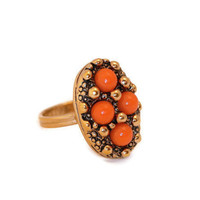 Vintage  Gold Tone  and Coral Sarah Coventry Ring
