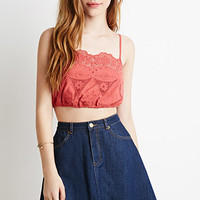 Embroidered Crochet Cropped Cami