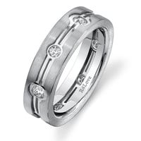 Eternity diamond ring for men - 6mm wide Palladium 0.62 cts total weight