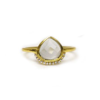 Rainbow Moonstone & Diamond Athena Shield Ring