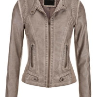 moto jacket with button tabs