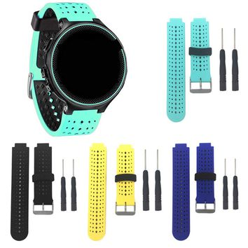 Soft Silicone Replacement Watchband Band Bracelet Wrist Strap with Metal Buckle for Garmin Forerunner 220 230 235 620 630
