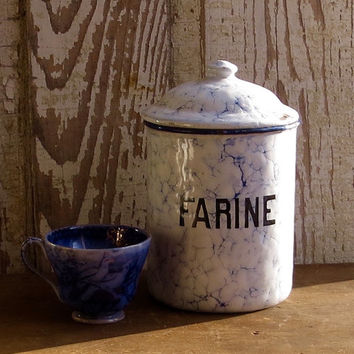Vintage French Enamelware Flour Canister, Blue Farine Marbled Enamel, Graniteware Storage Jar, Paris Flea Market, Farmhouse Kitchen Decor