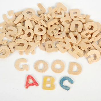 208PCS/LOT. Paint unfinished wood alphabet,A-Z letters,Early educational toys,Wood crafts. Wood toys,English learning.2cm.