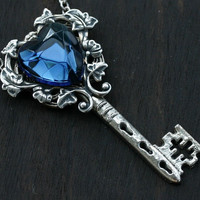London Blue Topaz Key to My Heart Necklace