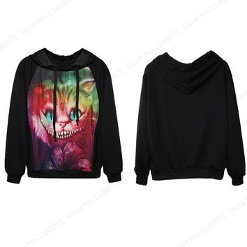 Colorful Cheshire Cat Skateboarding Hoodies Womens Tracksuits Alice's Adventures In Wonderland Hooded Sweatshirts Loose Relaxed