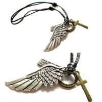 Mens Unisex Vintage Angel Wing and Cross Adjustable Leather Necklace