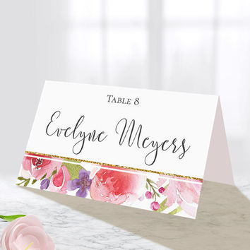 Personalized Wedding Place Card, Botanical, Bohemian Wedding, Personalized Printable, Floral Wedding, Watercolor, Table Seat Card
