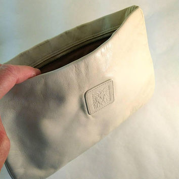 Bone White Clutch Bag, Womens Anne Klein Leather Purse, Small Vintage Bag, Designer Handbag