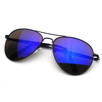 Emblem Eyewear - Flash Mirrored Lens Premium Metal Frame Aviator Sunglasses