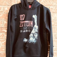 LED ZEPPELIN, distressed, cut , heavy metal, rock, sweatshirt, ladies medium, hoodie