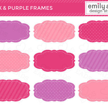 Pink and Purple Frames Cute Clip Art - polka dots stripes tags journal - Commercial Use Scrapbook, Invitations, Cards