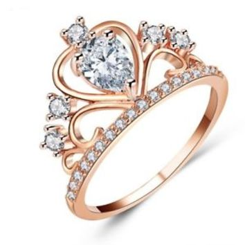 Fashion Women Lady Princess Queen Crown Silver Plated Ring Free U.S.Shipping