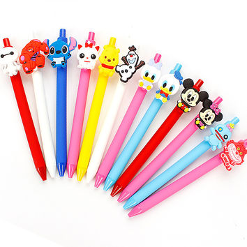 Kawaii Stitch Creative Gel Pen PVC 0.5mm Black Mary cat Cheshire Big hero 6 Pen Cute Escritorio Stationery Store School Supplies