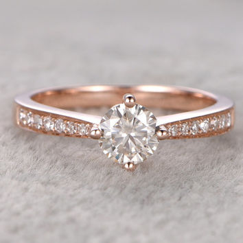 0.5ct brilliant Moissanite Engagement ring Rose gold,Diamond wedding band,14k,5mm Round,Gemstone Promise Bridal Ring,4-prong,Anniversary