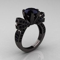 French 14K Black Gold 3.0 CT Black Diamond Engagement Ring, Wedding Ring R382-14KBGBD