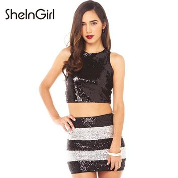 SheInGirl Apparel Chic Sexy Women Skirts Black&White Stripe Sequin Mini Skirt Autumn Zipper Color Block Casual Bodycon Skirt