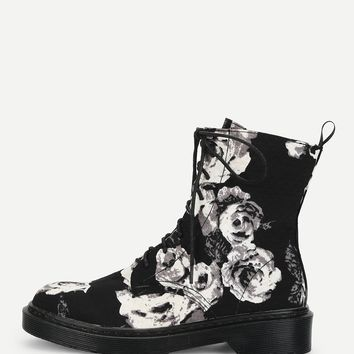 Flower Print Lace Up Boots