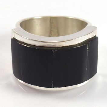 Black Jade Inlaid Ring