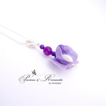 Violet sweet pea pendant - cold porcelain jewerly - flower pendant - sweet pea jewelry - amethyst pendant
