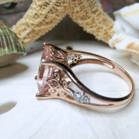 10k Pink Morganite and Diamond Ring Rose Gold 3.60ctw 3.81g Size 6.75