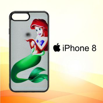 Disney Princess - Little Mermaid Ariel Holding Logo Clear Transparent V0107 iPhone 8 Case