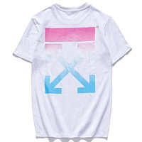 OFF-WHITE Tide brand rainbow gradient printing couple models loose round neck wild T-shirt White