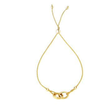 14K Yellow Gold Shiny 9x20mm Interlocked Do uble Ring Center Element Looped on 1mm Round Wheat  Chain Bracelet with Draw String Clasp