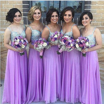 2016 Spring And Autumn Dress Women Vintage Sequined Evening Party Dresses Purple Mesh Spaghetti Strap Wedding Long Dress