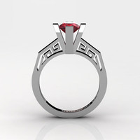 Modern Classic 14K White Gold 1.0 Carat Ruby Bridal Solitaire Wedding Ring Engagement Ring R1024-14KWGR