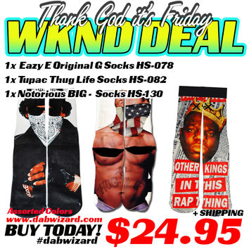 WEEKEND DEAL 03/27/2015 - 1x Eazy E Original G Socks HS-078 +1x TuPac Thug Life Socks HS-082 + 1x Notorious BIG Socks HS-130