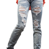 Machine Low Rise Destroyed Skinny Jeans