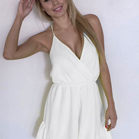 White V-Neck Strappy Ruffled Chiffon Dress