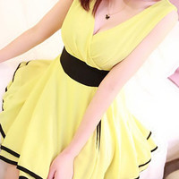 Yellow V-Neck High-waisted Chiffon Mini Dress