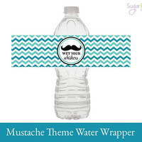 Mustache Water Wrapper, Mustache Baby Shower, Mustache Water Label, Mustache First Birthday Water Wrapper, Mustache Party Decorations