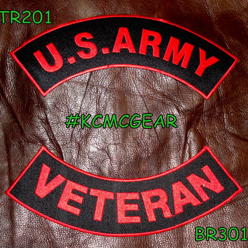 U.S. Army Veteran Embroidered Patches Red & Black Military Patch Set for Jackets