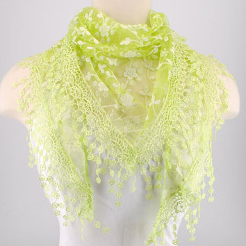 Green Lace Fichu Metallic Silver Roses Scarf Shawl Cowl Triangle Sheer Fashion Lightweight Women Accessories by Creations by Terra