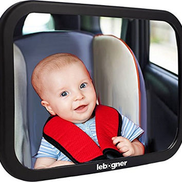 Back Seat Mirror By Lebogner - Rear-Facing Infant Seat Mirror, Adjustable, Shatter-Proof, BackSeat Baby Mirror, Crystal Clear Wide Angle View Car Seat Baby Mirror