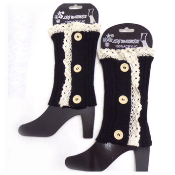 Lace Button Accent Black Boot Topper, Boot Cuffs