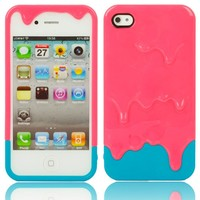 Melting Ice Cream Hard Plastic Back Case Cover for iPhone 4 4S Rosered and Blue