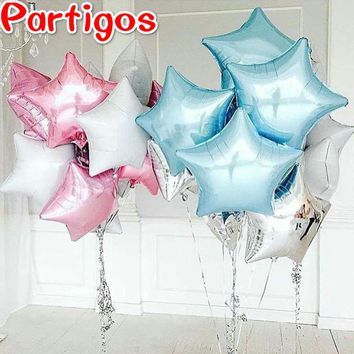 12 colors 50pcs 18 inch five-pointed star helium foil balloons baby shower wedding birthday decor pure color metallic globos