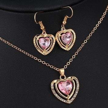 Jewelry Set Crystal Love Heart Pendant Necklace Earrings for Women Wedding Gift